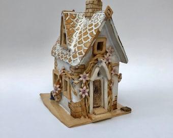 Fairy house, fairy cottage, fairy garden, fairy gift, ceramic cottage, handmade cottage, ceramic house, fairy garden house, garden ornament,