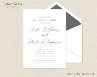 Probe Abendessen Einladung, einfache Einladung, Probeessen, Hochzeit, Einladung, Hochzeit Design, Lauren Haddox Design