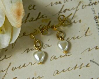 Vintage Heart Pearl Dangle Drop Earrings