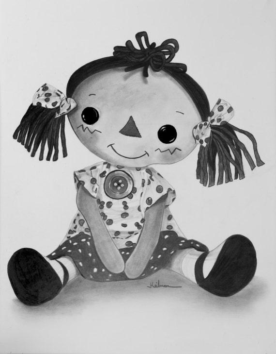 Muñeca de trapo Vintage ORIGINAL realista dibujo en grafito y