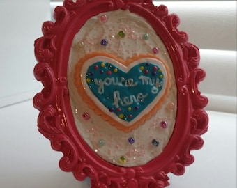 """Hot Pink Frame with Handmade Wreck-It Ralph """"Youre My Hero"""" Cookie Medal"""