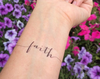 Faith Tattoo, Arm Tattoo, Temporary Tattoo, Fake Tattoo, Birthday Gift, Inspirational Tattoo, Faith, Religious Tattoo, Set of 2