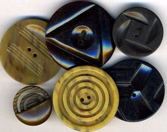 Vintage Buttons (6) Patterns Celluloid & Horn