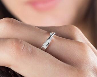 Mobius Ring, Sterling Silver Ring, 9k Mobius Ring, Solid Gold Mobius, Mobius 3mm