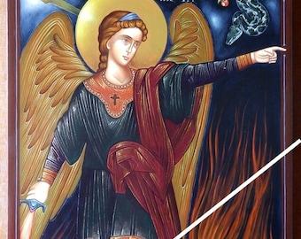 Angel with flaming sword, orthodox byzantine icon, original hagiography, hand painted on request, Άγγελος με πύρινη ρομφαία, ορθόδοξη εικόνα