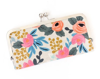 Floral Cell Phone Wallet Clutch with Kisslock Frame Closure in Pink and Cream Floral Print Cotton