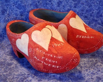 Old Vintage Red Wooden Clogs with White Hearts Made in Belgium 1945 Wooden Shoes