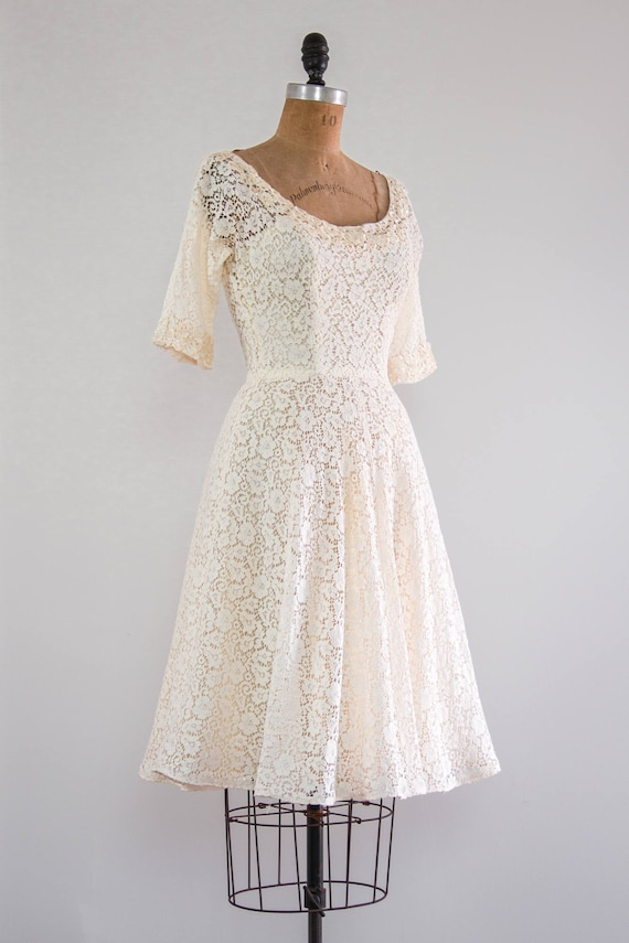 Jahrgang 1950 Brautkleid 50er Jahre Tee Länge kurze