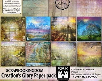 Creation's Glory Paper pack Commercial use or personal use ok Nature scenic digital scrapbooking Papers
