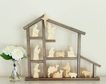 COMPLETE Rustic Nativity Set-Figurines AND Large stable (13pieces+Large Stable)