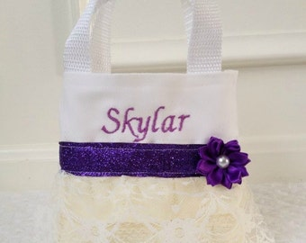Purple and Ivory Lace Flower Girl Purse, Flower Girl Gift, Birthday Gift