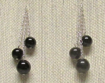 Black Glass Pearl Earrings with Silver Plated Earwires