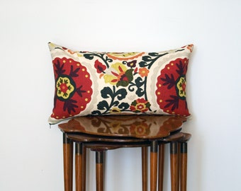 Graphic Suzani Print Lumbar Pillow Cover, in Red, Yellow + Cream