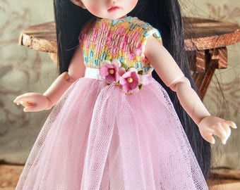 pink flower dress for tiny 1/6 BJD clothes Littlefee yosd ~sale~