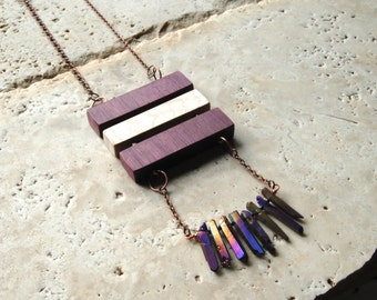 Peacock Quartz Crystal Spear & Purpleheart Wood long layering necklace statement raw gemstone mineral stone modern geometric healing crystal