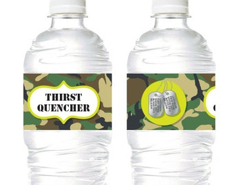Army Camouflage Laser Tag Juice Soda, Water labels/ drink wrappers  (Personalised Printables)
