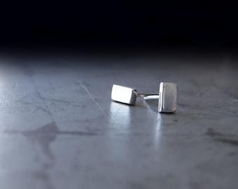 Minamalist Earrings - Rectangle Silver Stud Earrings - Plain Bar Studs - Small Silver Studs -  Post Earrings - Modern Studs