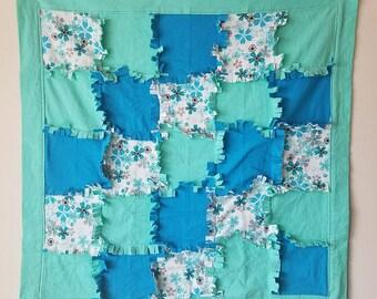 Teal Flower Snuggle Flannel Rag Blanket
