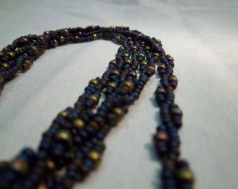 """Handmade woven seed bead necklace - black & gold beads - 40"""""""