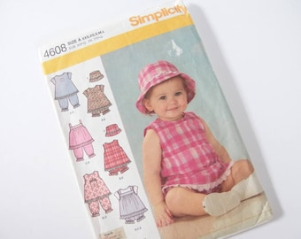 UNCUT Infants' Tops, Pantaloons, Panties and Hat Sewing Pattern, Simplicity 4608, Up to 24 Pounds