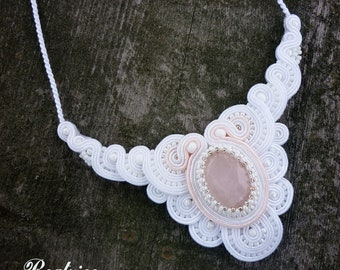 Wedding necklace soutache white ecru pink