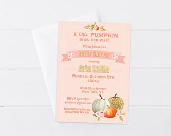 Little Pumpkin Baby Shower Invitation - Pumpkin Baby Girl Shower Invitation - Pumpkin Floral Invite Girl - Fall Baby Shower - Printable