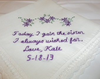 Sister in law wedding handkerchief, sister i wished for, hand embroidered, bouquet wrap, family wedding gift, wedding colors welcome