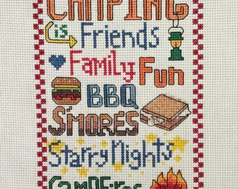 PATTERN - Camping Words - Counted Cross Stitch