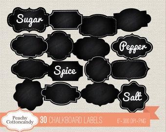 BUY 2 GET 1 FREE 30 Digital Chalkboard Labels - chalk board labels clip art - chalkboard label clipart - Commercial Use Ok