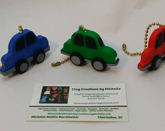 Cars, Set of TWO - choose Red, Green, or Blue Ceiling Fan Pulls
