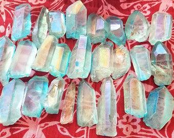 Aqua Aura Quartz Point | Blue Crystal | Metaphysical Spiritual Healing Stone | Throat Chakra