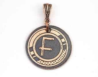 Art Deco letter F pendant, small round flat metal copper etched monogram initial, optional necklace, 25mm
