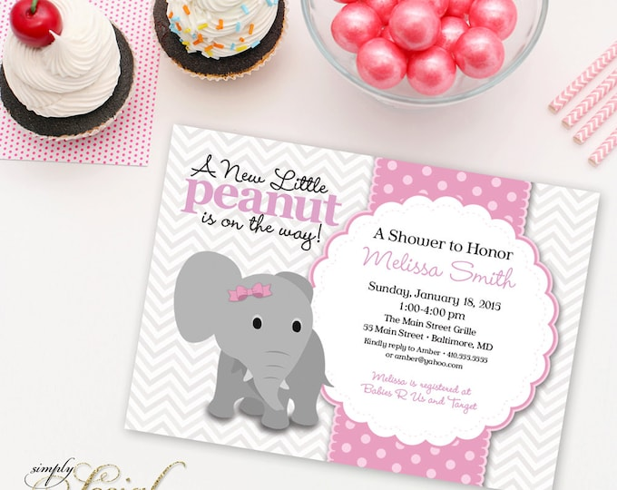 Elephant Baby Shower Invitation Grey Chevron and Pink Little Peanut with Bow Printable