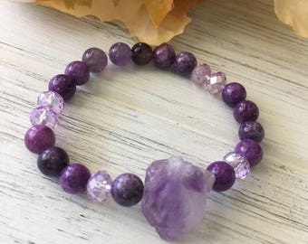 Purple Quartz and Natural Crystal Beaded Stretch Bracelet