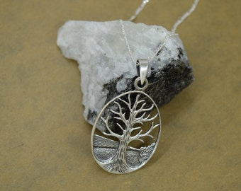 Sterling Silver Tree of Life Scene Pendant with Chain