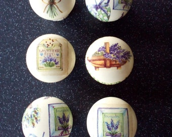 Set of 6 Handcrafted Wooden 'Lavenders Blue Dilly Dilly' DOor Knobs