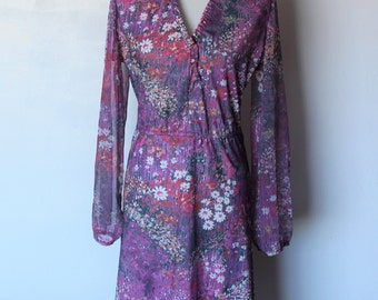 Purple 70s Long Sheer Sleeve Elastic Waist  Bright Floral Knee Length Lady Carol Dress