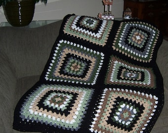 afghan crochet granny square earth tones green brown beige ready to ship
