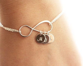 Personalized Infinity Bracelet, Initial Bracelet, Personalized Bracelet, Sterling Silver Infinity Bracelet, Mother's Bracelet