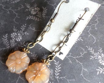 Pastel Flower Earrings - Orange Flower Earrings - Glass Flower Earrings - Bronze Chain + German Milk Glass Flowers - Boho Morigirl Earrings