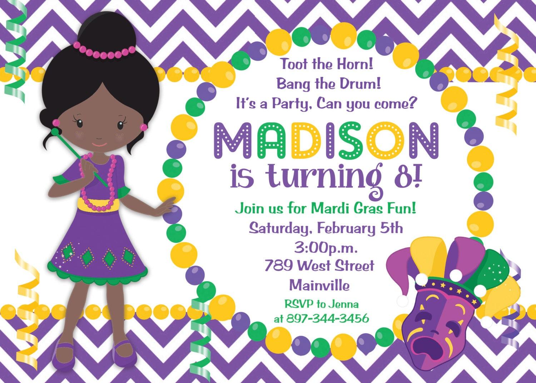 Mardi Gras Birthday Party Invitation Mardi Gras Party Theme