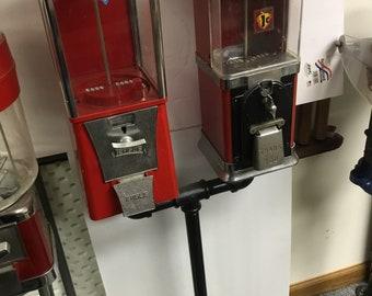 Vintage Unique Double Gum Candy Dispenser on Stand