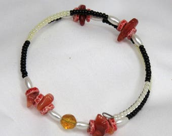 Red stone chip wrap-around bracelet