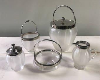 SALE! Vintage Ribbed Glass 5 Piece Cruet Set - Serving Set - Condiment Set