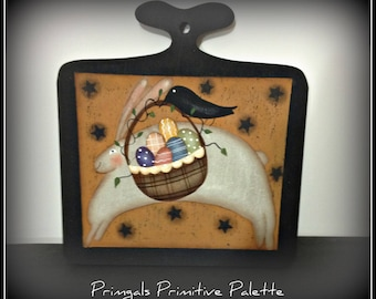 Primitive Bunny Easter Eggs Wood Plaque Home Decor Easter Wall Art Decoration