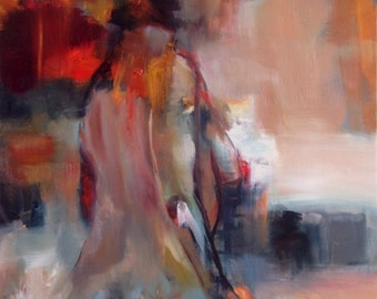 Abstract Nude Original Oil Painting by CES - Female Figurative Female Portrait Nude Figure Painting Woman Abstract Figurative Painting ART
