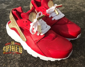 Custom Red and Gold Glitter Nike Air Huaraches with glitter logo (Women & Men sizes - contact me for kids)