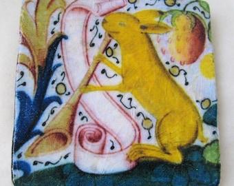 Medieval Easter Bunny Ceramic Tile