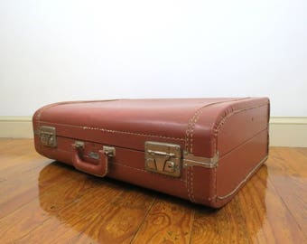 Vintage Luce Suitcase // Brown Hard Shell Rounded Suitcase Art Deco Rustic Luggage Mid Century Modern Photography Modeling Prop Storage Case