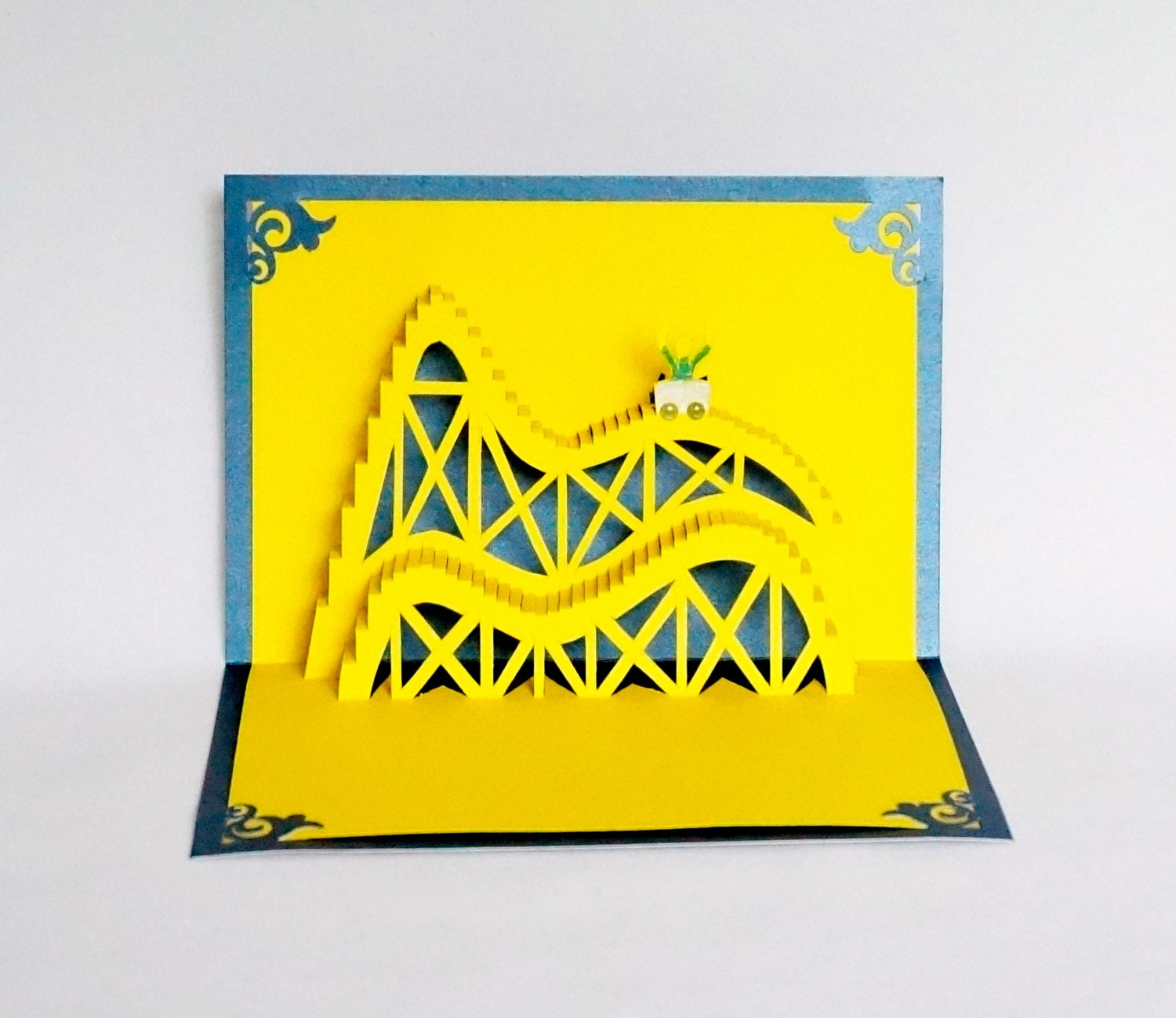 Roller coaster 3d pop up greeting card birthday vacation zoom kristyandbryce Image collections